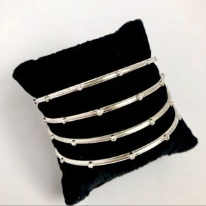 Brighton set of 4 brushed silver bangles